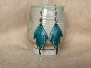 Boucles d'oreilles Grandes feuilles en cuir