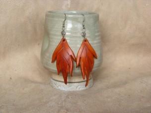Boucles d'oreilles Grandes feuilles en cuir orange
