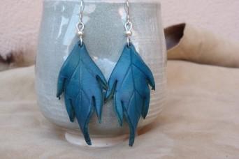 Boucles d'oreilles Grandes feuilles en cuir turquoise