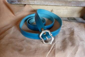 Ceinture en cuir, boucle  argenté, largeur 20 mm