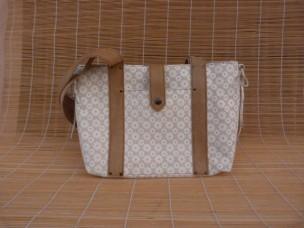 sac cabas en cuir fleur champêtre beige écru