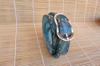 Ceinture en cuir, boucle  argenté, largeur 25 mm