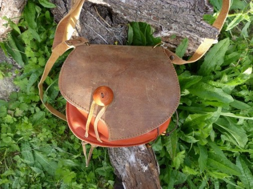 Sac escarcelle marron vieilli et orange