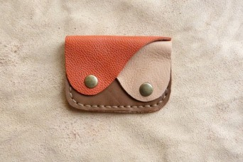 Porte monnaie en cuir tricolore