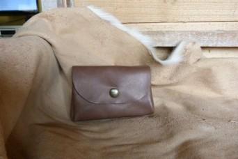 Porte monnaie en cuir marron