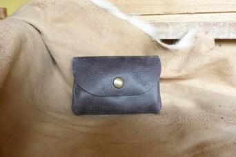 Porte monnaie en cuir gris