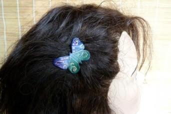 """Barrette """" papillon"""" violette et verte"""